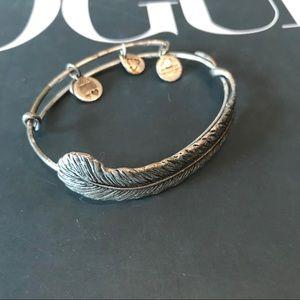 Alex and Ani plume feather bangle bracelet silver